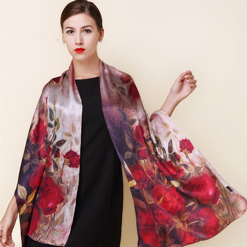 2016 spring high quality 100% real silk Scarf Shawl wrap hijab women female fashion Scarves classic red rose pattern 175*52cm(China (Mainland))