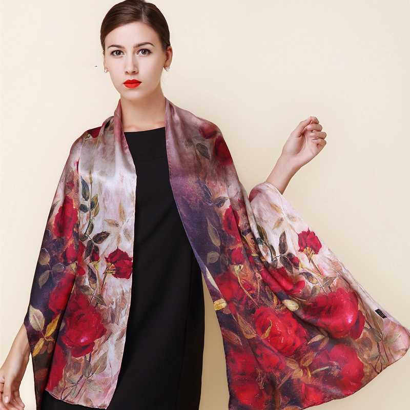 2016 winter high quality 100% real silk Scarf Shawl wrap hijab women female fashion Scarves classic red rose pattern 175*52cm(China (Mainland))