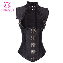 Vintage Stand Collar Steel Boned Waist Training Underbust Corset Steampunk Clothing Gothic Corsets Bustiers Burlesque Costume