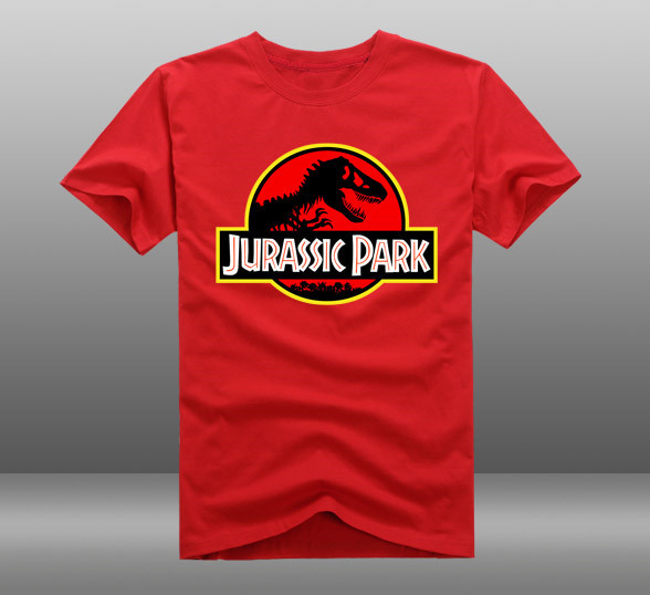 Men's Summer Casual Tees/Tops Hot Movie JURASSIC PARK Theme Prints O-Neck Short Sleeve Cotton T-Shirts(China (Mainland))