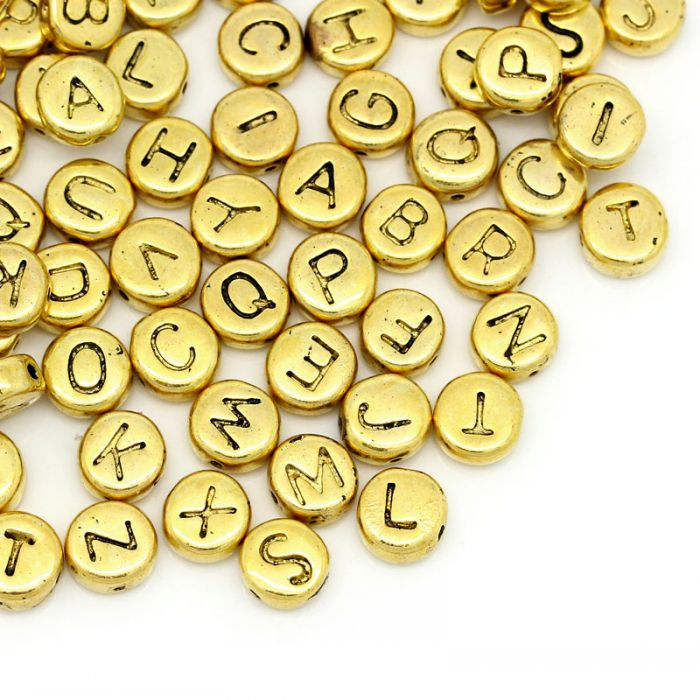 "Spacer Beads Mixed at random Alphabet/Letter Gold Tone 6mm(2/8"") Dia,Hole:Approx 0.5mm,50PCs Mr.Jewelry(China (Mainland))"