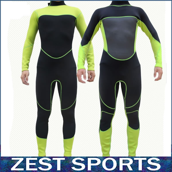 Фотография High quality,3mm thick men long-sleeved wetsuit,Fluorescent green stitching black,Piece fitted,fall and winter,Neoprene,swimsuit