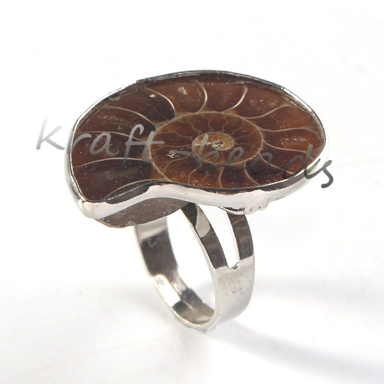 wholesale 10Pcs Silver Plated Natural Ammonite Fo ssil  Adjustable Unisex Finger Ring Jewelry