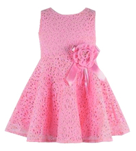 Retail NEW 2014 Summer girl dress,lace, bow princess dress, sleeveless fashion, elegant dress for girl, pink, Free Shipping(China (Mainland))