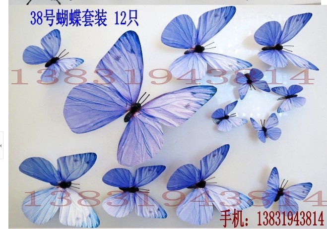 38#color decker three-dimensional magnet butterfly paper decoration wedding props(China (Mainland))