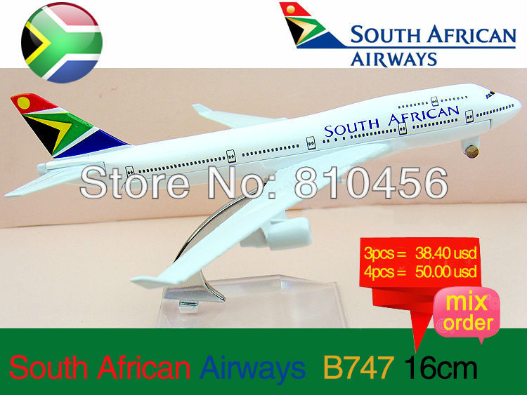 Free Shipping!South Africa Airline B747 16CM display metal aeroplane model RC airplane model model aircraft mockup