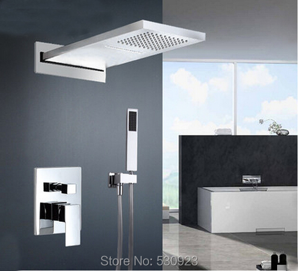 New Wall Mounted Bathroom Shower Set Faucet Chrome Finish Mixer Tap Rainfall waterfall Shower Head W/ ABS Handheld Shower