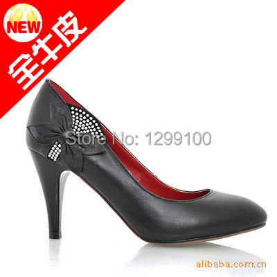 Women pumps Genuine Leather High Heels shoes Pointed-Toe women high heel shoes wedding Shoes Big size<br>