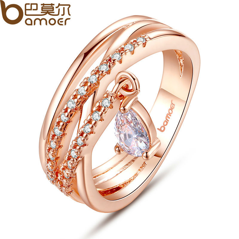 BAMOER 18K Gold Plated Bohemia Ring for Lady Wedding with Water Drop Pendant Special Store Jewelry JIR054(China (Mainland))
