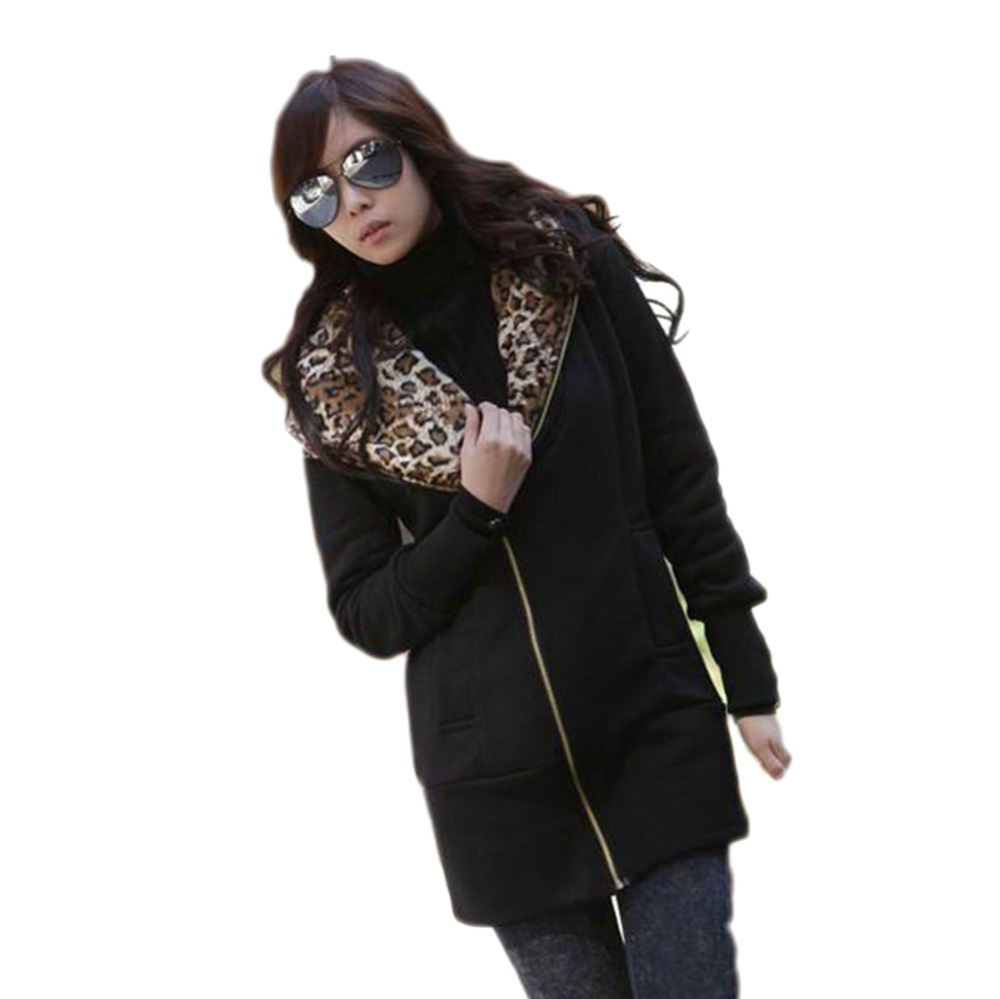 2015 New Women's Long Sleeve Leopard Jacket Coat Warm Sweater Outerwear Casual Zipper Hoodie Sweatshirt W3913(China (Mainland))