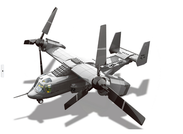 Military Toy American V-22 Osprey Tiltrotor Aircraft Medium Transport Aircraft Building Block Sets Compatible With Lego(China (Mainland))