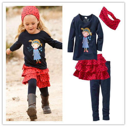 hot selling! 5set/lot 2012 new style baby girl's top t-shirt+skirt+pants+headhand 4pieces suits sets 80-120,B12
