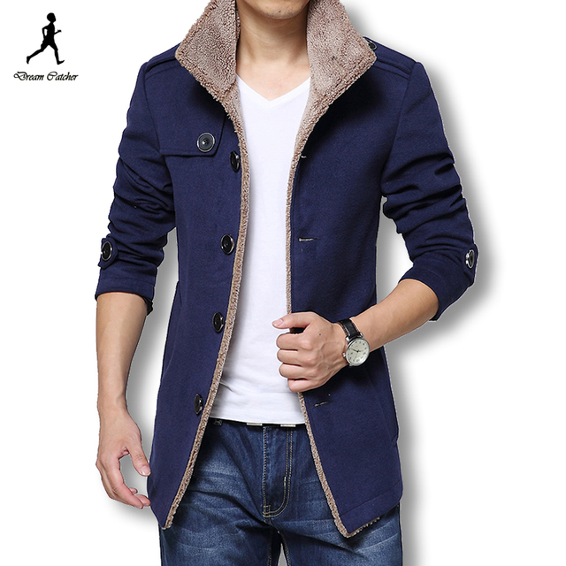 2016 мужчин с шерстяное пальто зимние пуловеры и пальто slim-подходят мужчины ветровка высокое качество плащ Большой размер горячая распродажа