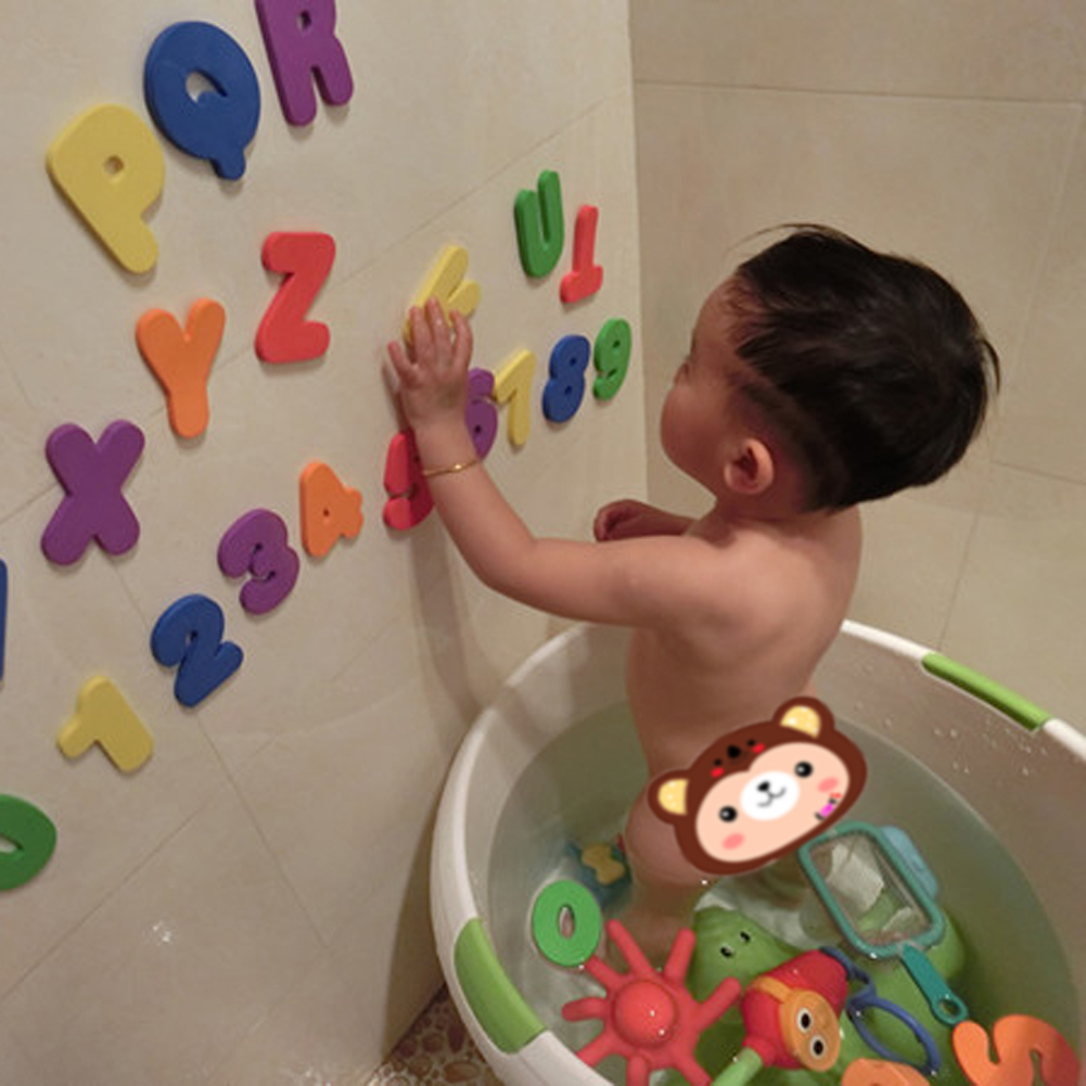 Educational Floating Bath Letters & Numbers Stick On Bathroom For ...