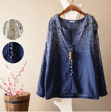 Women Tops And Blouses 2015 New Arrivals Vintage Elegant Fashion Irregular Print Long Sleeve Linen Casual Sen Female Blusas(China (Mainland))