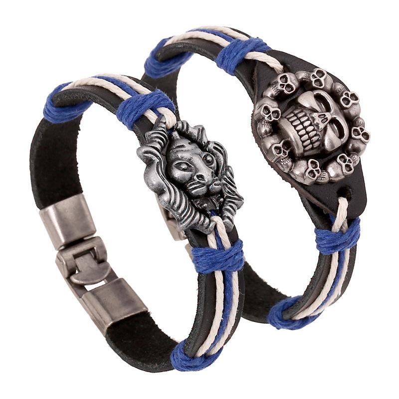 Punk Skull LionHead Cowhide New Bracelet Men Fine Women Diy Rock Love Gift Charms Wristband Unisex Summer Jewelry Style Leather(China (Mainland))