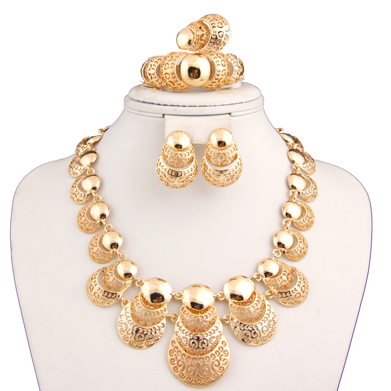 African Costume 18K Gold Plated Necklace Set Fashion Dubai