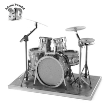 3D Миниатюрные Музыкальные Инструменты Модель Лобзики DIY Новый Год Подарок Модель Строительство Обучающие Игрушки для Детей Стойки Барабан