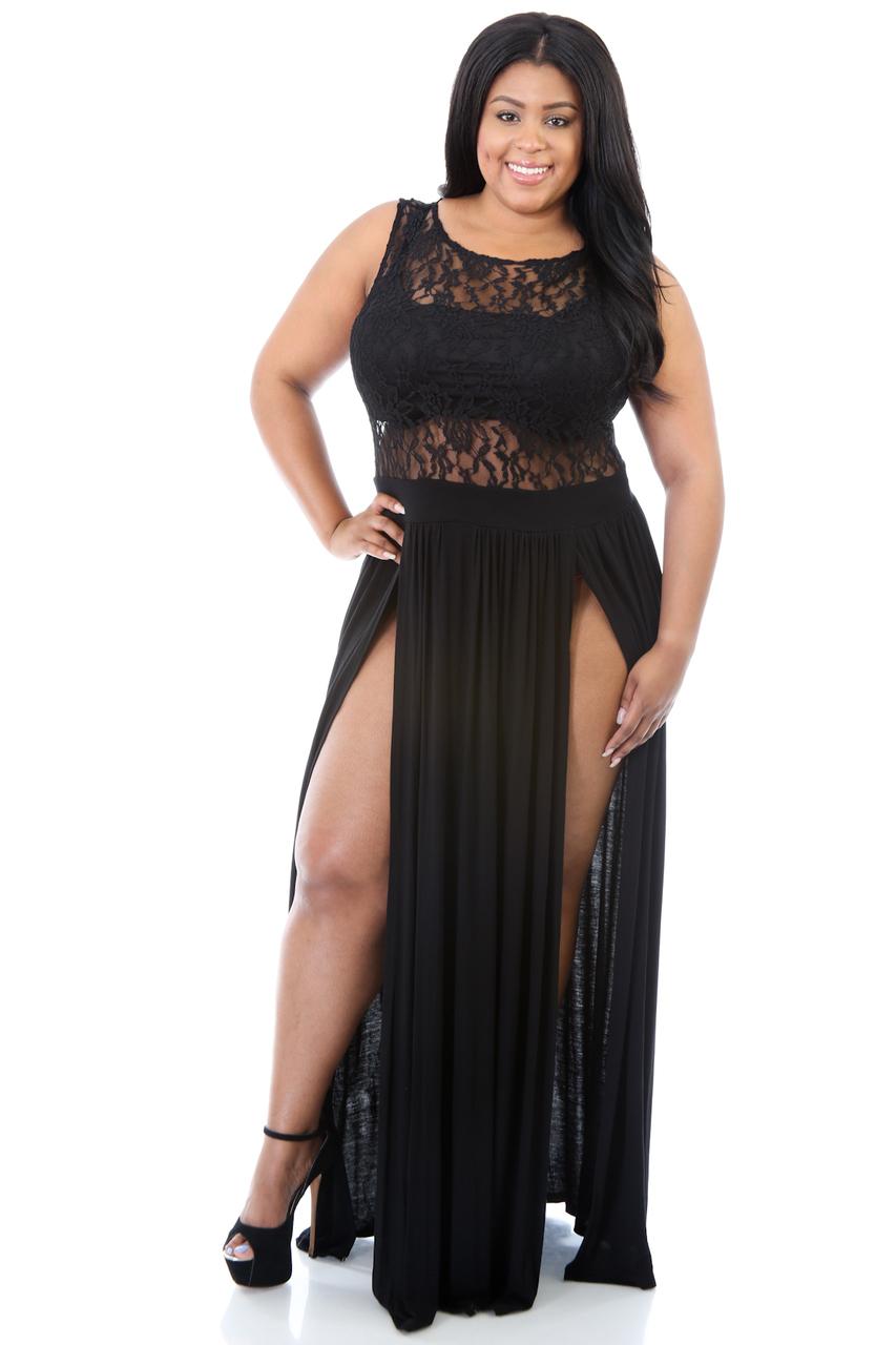 Vestido De Festa Lace High Split Women Dress Evening Party Elegant Long Dress Plus Size Sexy Party Clubwear Maxi Dress 2XL 60372