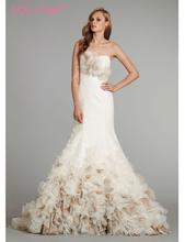 2016 New Cheap Custom Design Handmade Wedding Dress Strapless Silk Organza Bridal Gown Sheer Corset Back And Chapel Train(China (Mainland))
