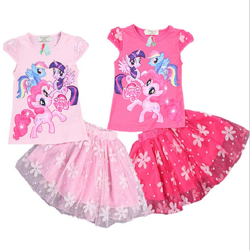 My Little PonyS Girls 2 Pcs Set Blue Layered Tutu Dress Sets Clothing Sets cartoon clothing girls Baby girls clothing sets(China (Mainland))