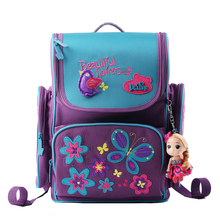 2015 New Arrival Girls Butterfly School Bags Orthopedic Backpack Girl Princess Mochila Infantil Cute Bear Schoolbag 4 Colors(China (Mainland))