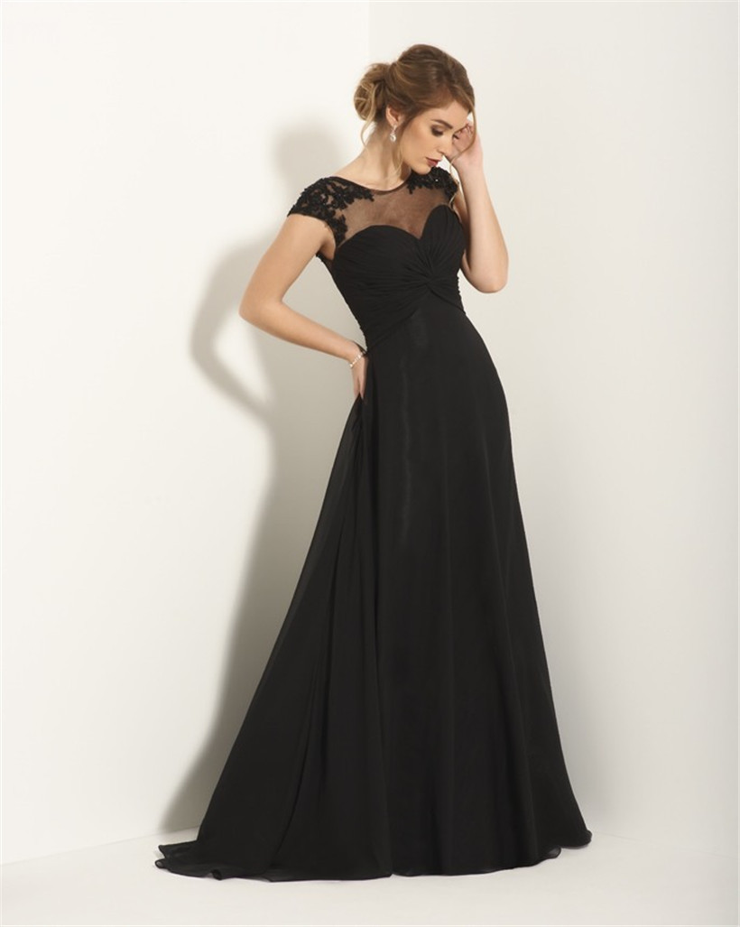 Black long evening dresses with pleating 2015 cheap scoop for Evening dresses for weddings
