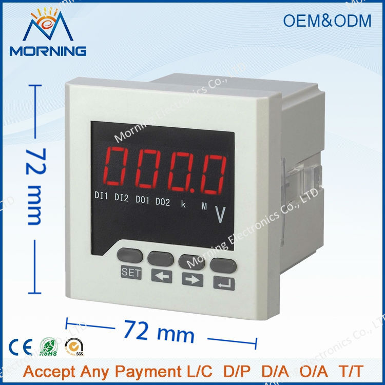ME-DV6-T  frame size 72*72mm LED Digital display 1 phase dc voltmeter for network power monitor with RS 485 communication<br><br>Aliexpress