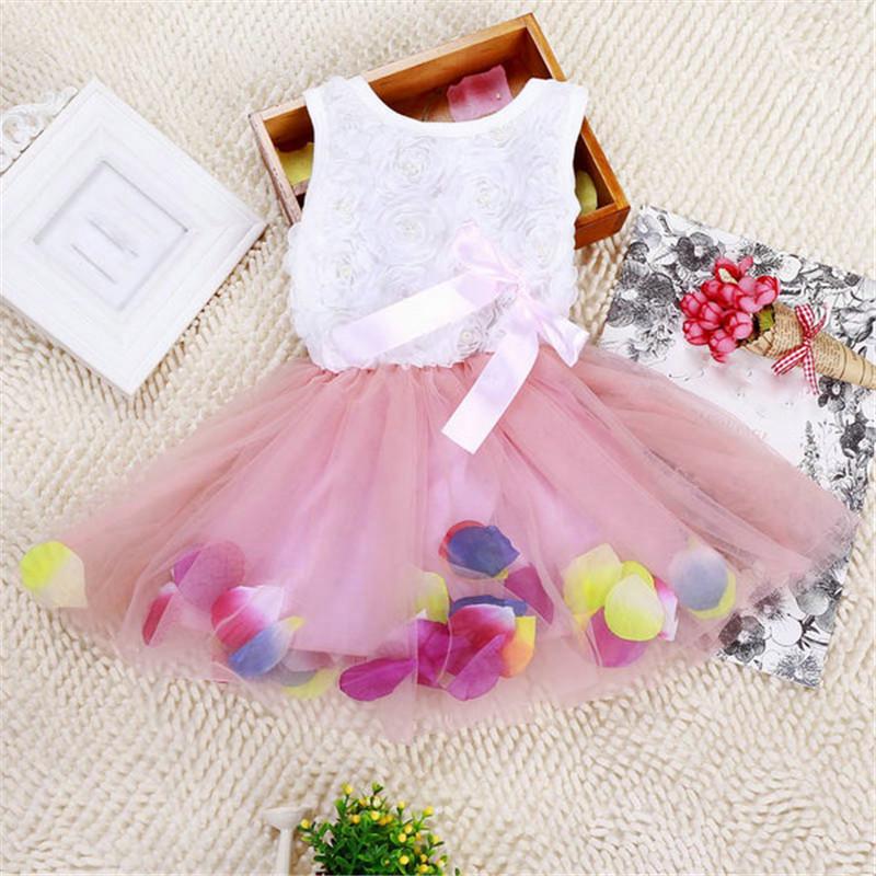 Candy Girl Hem Petal Dress Floral Clothes TuTu Dress Butterfly-knot Princess Dress Week Clothing 7 Colors(China (Mainland))