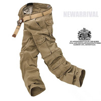 2015 Men's pants washing overalls high quality man outdoor casual pockets Cargo design trousers jeans 5 colors