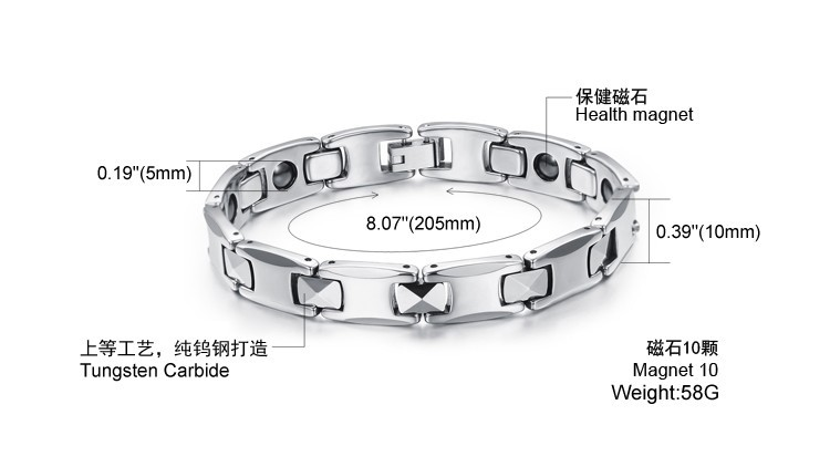 High Quality Purely Carbide Tungsten Bracelet Health Care Magnetic Bracelet For Best friend Cool Men Jewelry Accessories, JM924 cheap