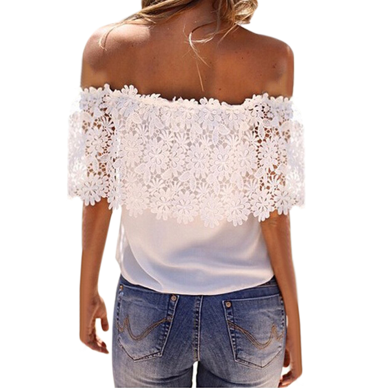 Женщины белый топ blusas femininas сексуальные кружева блузка сетка плечо с коротким рукавом цветочные кружева блузка рубашка wcx944