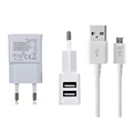 Dual USB Charger EU 5V 2A for Sasmung Huawei Xiaomi Phone with Micro USB Charging Cable