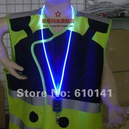Free shipping 2012 new 30pcs/lot LED neck strap flashing neck strap lanyard optical fiber neckstrap emergency Round shape