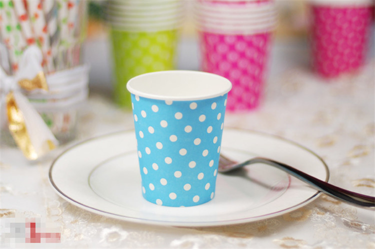 200pcs/lot wholesale disposable dot paper cups wedding decor christmas party supplies(China (Mainland))