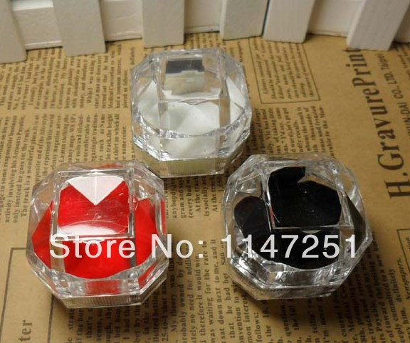 Hot Sale! 3 Colors Transparent Acrylic Ring Box 38*38mm Jewelry Case Ear Nail Box High Quality 20pcs/lot Free Shipping(China (Mainland))