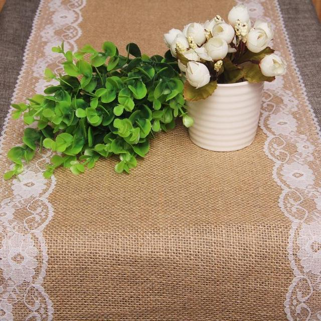 Rustic jute lace wedding accessories table runner party - Deco de table vintage ...