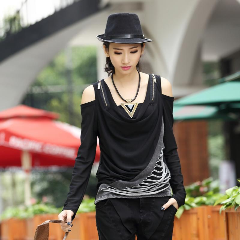 Original Design 2015 New Long Sleeve v-neck Slim European American Women T-shirt Casual sport Patchwork spring False Shirt  -  Carey Li's Plus Size store store