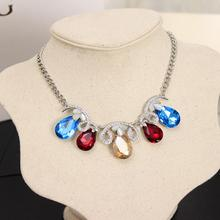Fashion Jewelry for Women Collares Vintage Necklaces Gem Opal Stone Chain Pendants Statement Choker Necklace(China (Mainland))