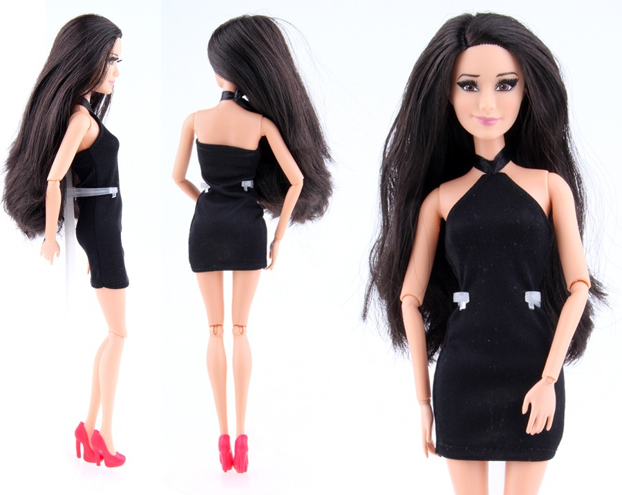2016 New  Garments A Lot = 5 Items Vogue Woman Black Handmade Cool Attire Outfit for Barbie Doll DIY equipment