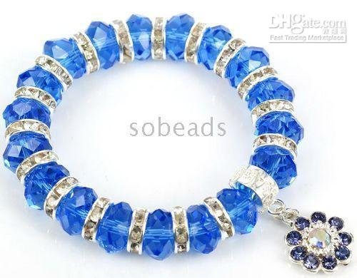 Bracelet with pendant crchid Faceted Crystal Glass Spacer elastic cord chains 10pcs/lot