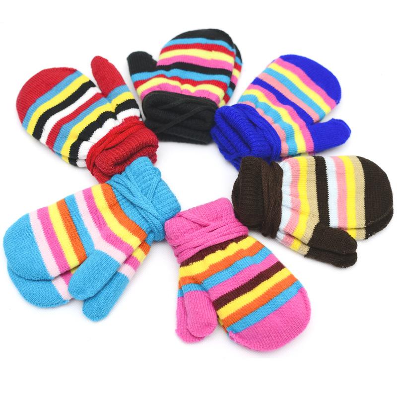 2015 New Winter Warm Striped Kids gloves Toddler Knit Mittens Children Gloves For Fitness Eldiven Boy Girl Gloves For 1-5Y(China (Mainland))