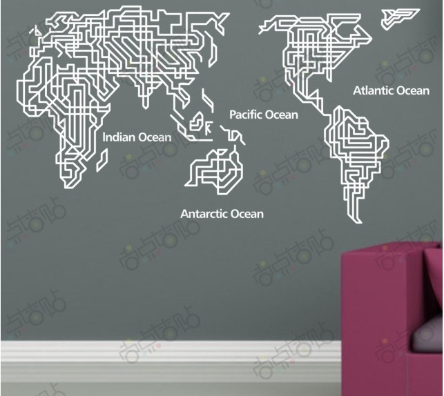 World map wall decal in words quotes gumiabroncs Image collections