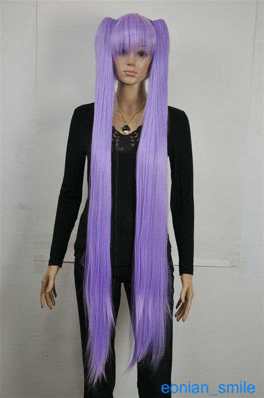 0116P  Express delivery to USA Light Purple Extra Long Straight Cosplay Lolita Split парик s0817