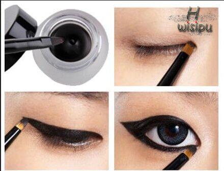 New Cosmetic Waterproof Eye Liner pencil make up black liquid Eyeliner Shadow Gel Makeup + Brush Black(China (Mainland))