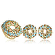 Blucome דובאי עגול כחול אמייל גדול Stud עגילי טבעת סט נשים ליידי מסיבת אירוסין תכשיטי סטי זהב צבע סגסוגת Bijuterias(China)