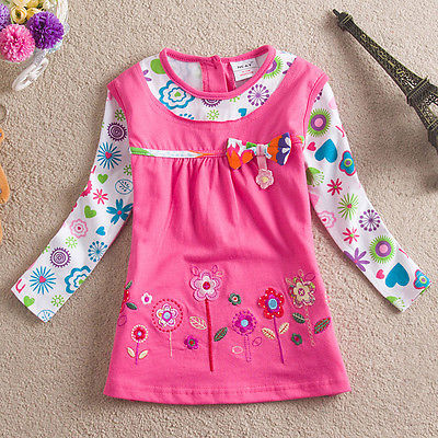 Cartoon Style new Baby Girls Kids floral print dress Pink Blue Cotton long sleeve spring Mini Dress children's clothes(China (Mainland))