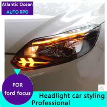 AUTO.PRO xenon headlights ford focus 2012 2014 head lamps Ford Focus H7 HID kit bi lens LED DRL car styling - Atlantic Ocean AUTO PRO CO.,LTD. store