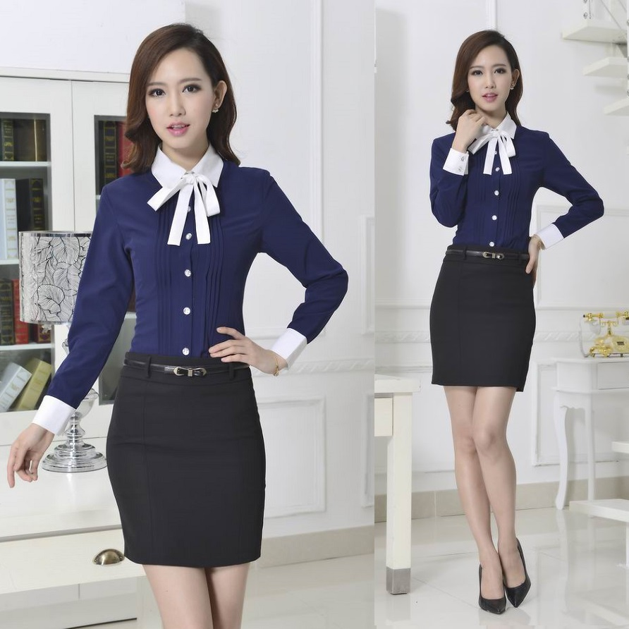 new 2015 autumn formal office uniform designs women suits with skirt