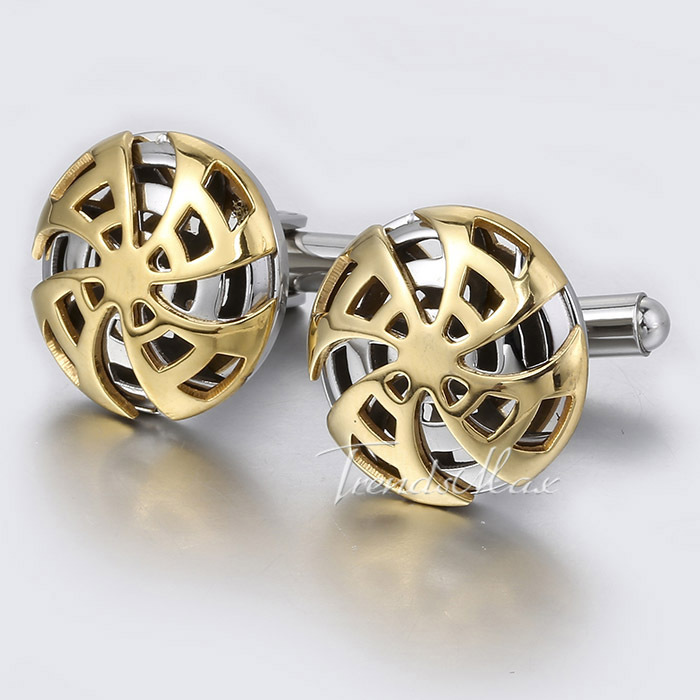 Mens Cuff Links Silver Gold Tone Stainless Steel Pinwheel Design Round Cufflinks Shirt Party KL17-KL30 - Trendsmax Flagship Store store